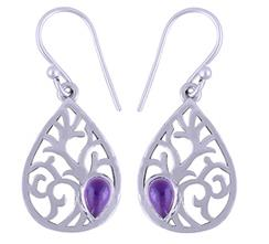 Cabochon Stone Silver Earrings